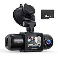 Dual Dash Cam, 64GB SD Card Included, 1080P FHD Built-in GPS Wi-Fi , Front and Inside Car Camera Recorder for Uber with…