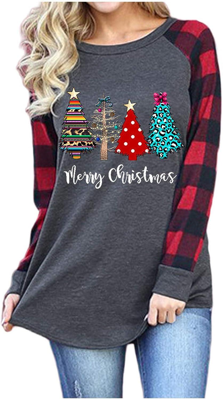 VEKDONE Women Christmas Tee Shirts Plaid Stripe Splicing Long Sleeve Santa Claus Snowflake Xmas Tunic Tops T Shirts: Clothing