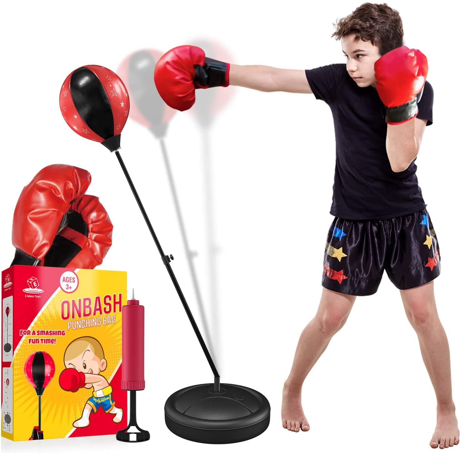 Boxing Punching Bag Set With Gloves Pump and Adjustable Stand