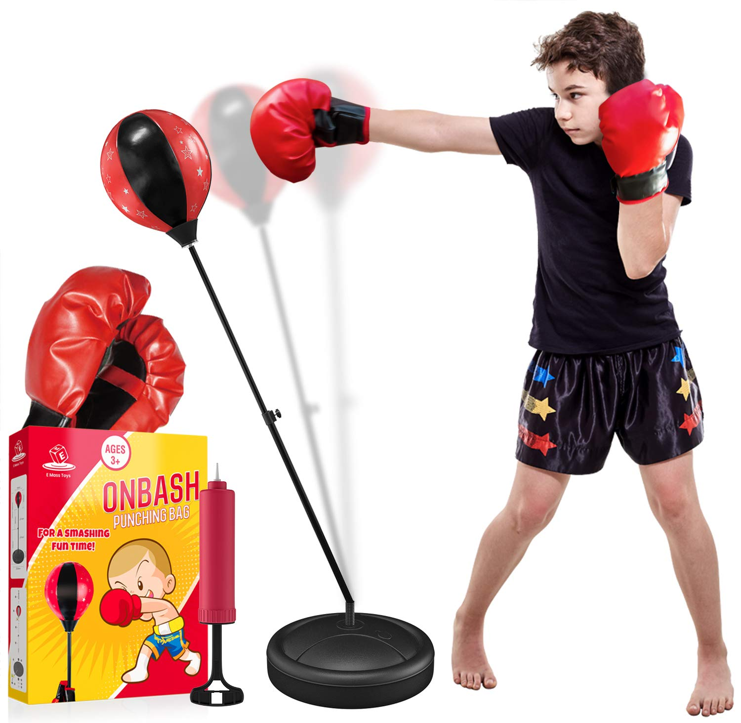 Punching Bag Set for Kids with Boxing Gloves & Hand Pump - 3-8 Years Old Adjustable Kids Punching Bag with Stand - Top Gifting Idea for for Girls & Boys- Portable & Long-Lasting