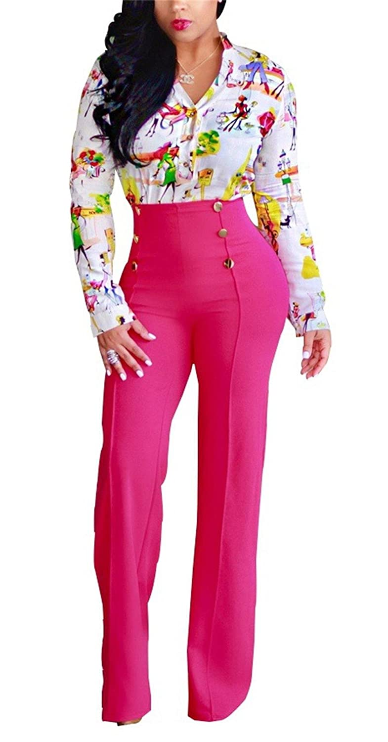 LKOUS Women's Stretchy High Waisted Wide Leg Button-Down Pants LK_S2006