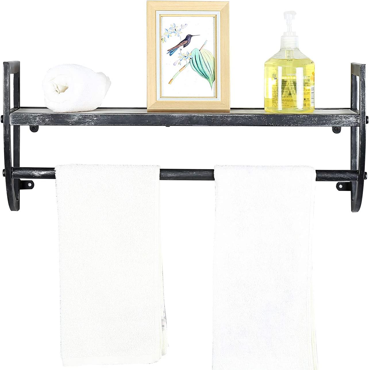 Floating Wall Shelves with Towel Bar,Towel Racks for Bathroom: Kitchen & Dining