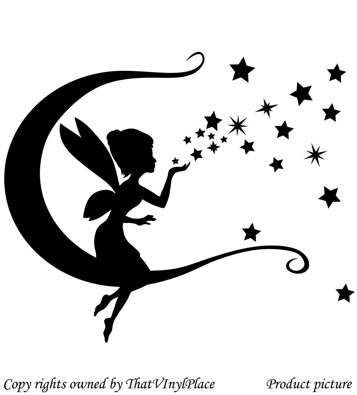 Fée, lune, les étoiles et les sautes Sticker 30 cm x 28 cm-Couleur noir, fée sprite périurbaines, fay, chambre d'enfants, autocollant mural en vinyle voiture, fenêtres et Sticker mural fenêtre Art Decals Sticker vinyle-ThatVinylPlace, Décoration chambre d&