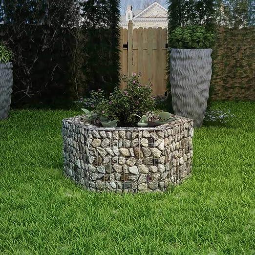 UnfadeMemory Jardinera Exterior Hexagonal,Gaviones de Piedra,Muro de Gaviones,Decorativos para Jardin Patio,Acero Galvanizado,Plateado (100x90x50cm): Amazon.es: Hogar