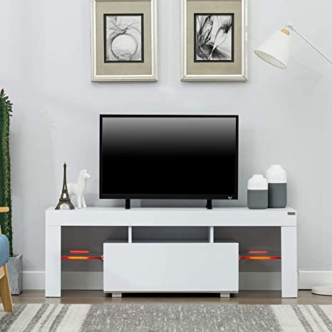 Amazoncom Wonline 51 Tv Stand Media Console Cabinet Led