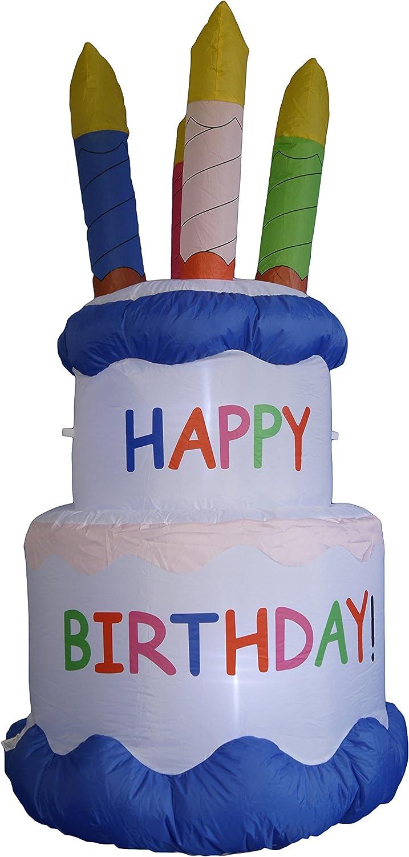 Amazon.com: 6 foot hinchable Happy Tarta de cumpleaños con ...