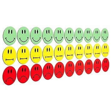 30 bunte Smiley Magnete (10 gruene lachende Smileys / 10 gelbe neutrale Smileys / 10