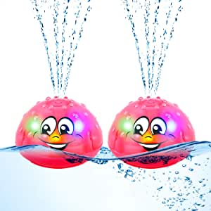2 Pieces Spray Water Bath Toy Spray Water Squirt Toy Light Up Float Toy Induction Spray Water Toy Waterproof Fountain Toy for Bathing Swimming (Red)