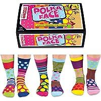 United Oddsocks - Polka Face - Punkte, Streifen - Damen - 6 verschiedene Socken - Polka dots Gr. 37-42