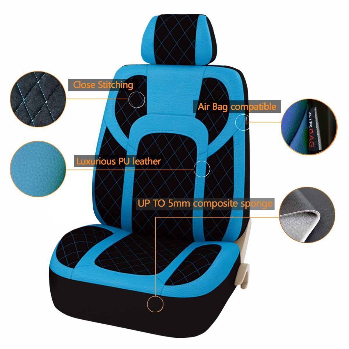 13PCS Extreme Luxurous PU Leather Automotive Universal Seat Covers Set Package-Universal fit for Vehicles,Cars,SUV With 5mm Composite Sponge Inside,Airbag Compatible CAR PASS Black and Blue