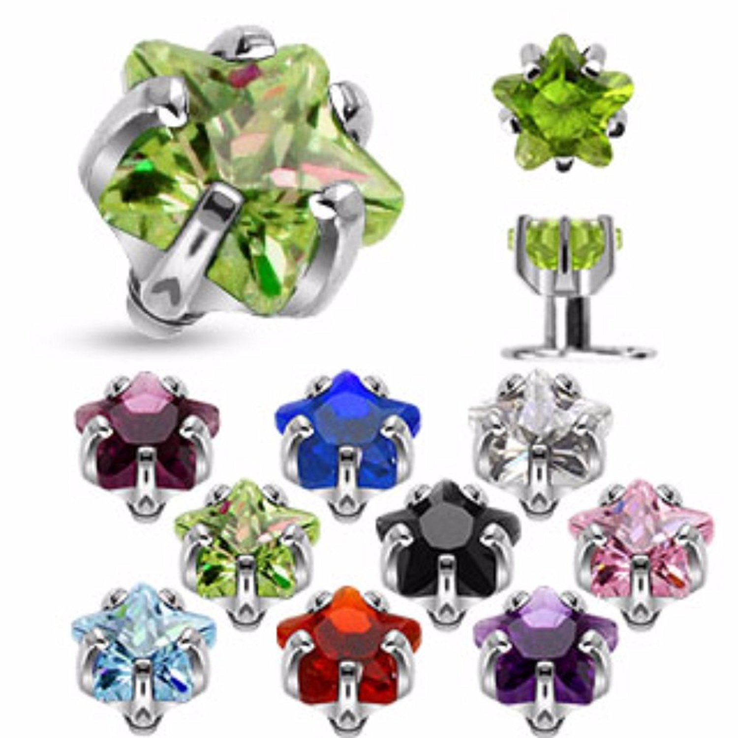 eg gifts Luxe Star Dermal Top Internally Threaded Prong Jewel in 14g 3mm (Clear)