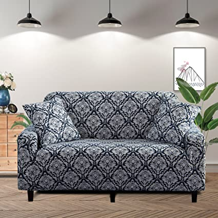 Lamberia Printed Sofa Cover Stretch Couch Cover Sofa Slipcovers for 3  Cushion Couch with One Free Pillow Case (Navy Blue, Sofa 3 Seater)
