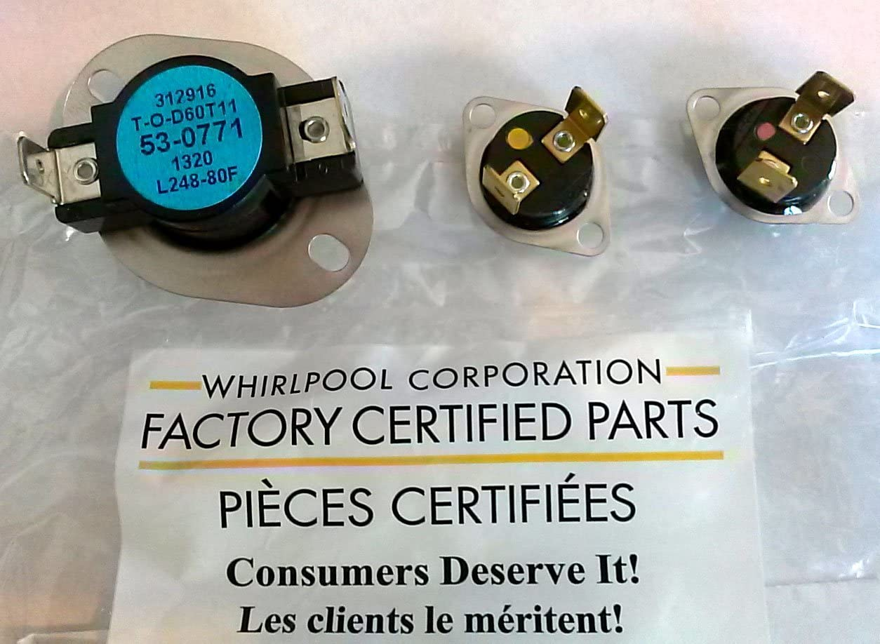 Factory Certified LA-1053 53-0771 53-1096 53-1182 Whirlpool Dryer Thermostat