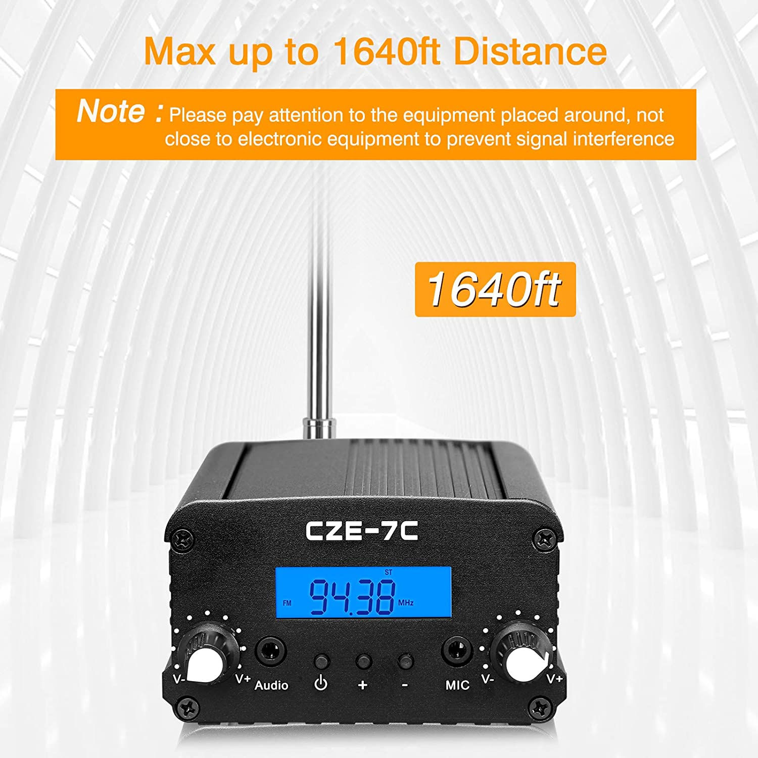 Built-in PLL Radio Stereo FM Transmitter for Drive-in Supermarket School, Fm Transmitter for Church 76~108MHz Fm Radio Transmitter with Antenna Elikliv 7W Wireless Stereo Broadcast with Microphone