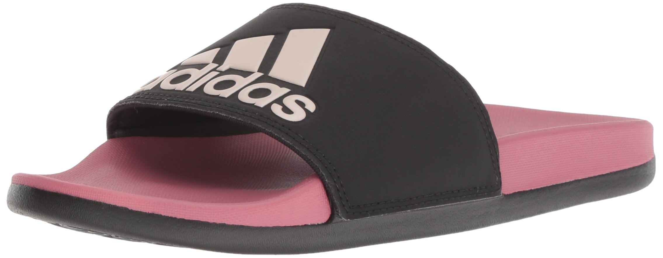 adidas Women's Adilette Comfort Slide Sandal, Black/Vapour Grey Metallic/Trace Maroon, 6 M US