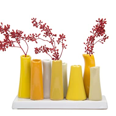 Chive - Pooley 2, 7.25  Long 3  Wide 4.5  Tall Unique Rectangle Ceramic Flower Vase, Small Bud Decorative Floral Vase Home Decor Centerpieces, Arranging Bouquets, Connected Tubes (Yellow, White)