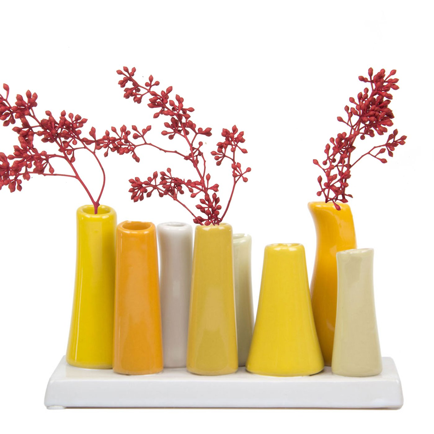 Chive - Pooley 2, Unique Rectangle Ceramic Flower Vase, Small Bud Vase, Decorative Floral Vase for Home Decor, Table Top Centerpieces, Arranging Bouquets, Set of 8 Tubes Connected (Yellow, White)