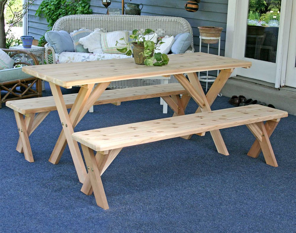 Amazon.com : 5\' Backyard Bash Cross Legged Picnic Table (Natural ...