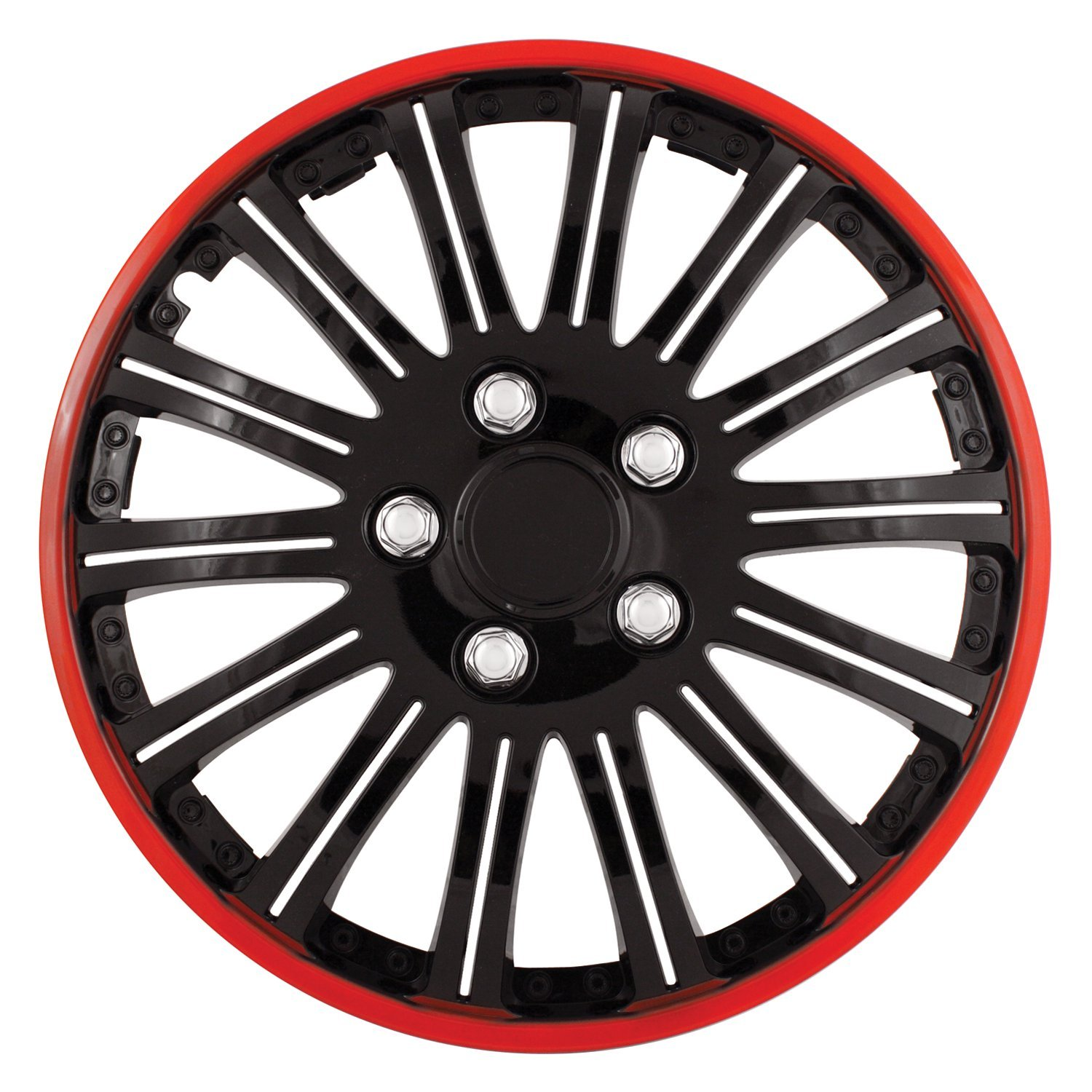Pilot Automotive WH527-15RE-BX Cobra Black Chrome 15' Wheel Cover with Red Accent, (Set of 4)