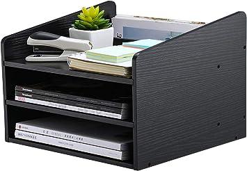PAG Wood Desktop File Organizer Mail Sorter Magazine Rack Paper Holder Telephone Stand with Adjustable Drawer White