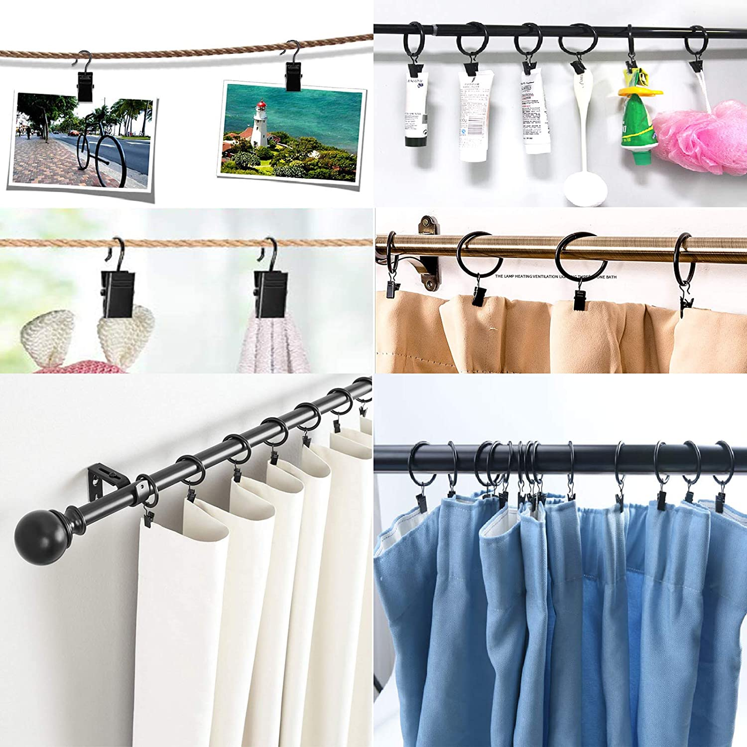 Small Curtain Clips with Hooks Photo Clips Bulldog Clips Laundry Hooks for Curtain Rings Art Craft Display YUEMING 20 Pcs Metal Curtain Clips Home Decoration Photos Hanging Window Curtain