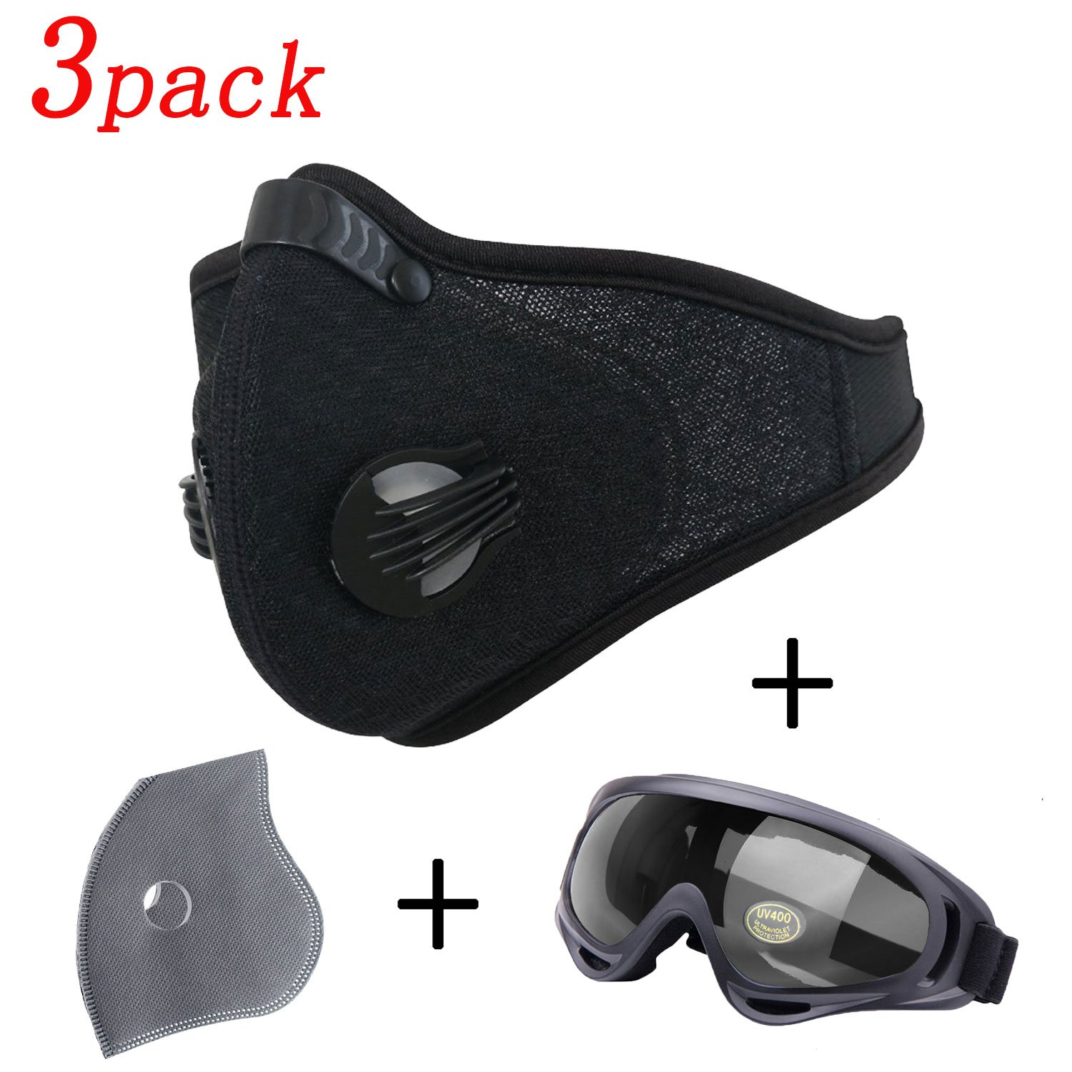 Activated Carbon Dustproof Mask 3Pack – Include 1 Pack Safety Glasses 1 Pack Filter, Filtration Exhaust Gas Anti Pollen Allergy PM2.5 Dust Mask Air Filter for Running Cycling DIY Outdoor Activities