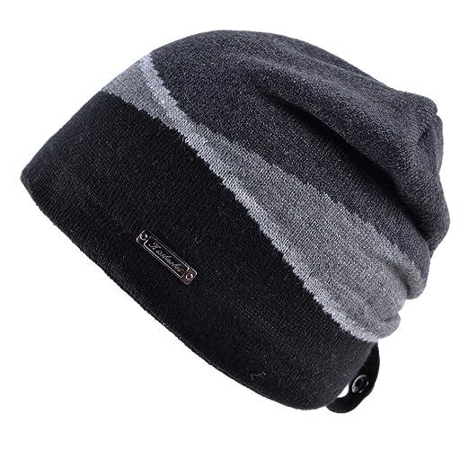eff7d678 KISSBAOBEI Trendy Beanie Mix Color Men Knit Beanie Hat Skully Black ...