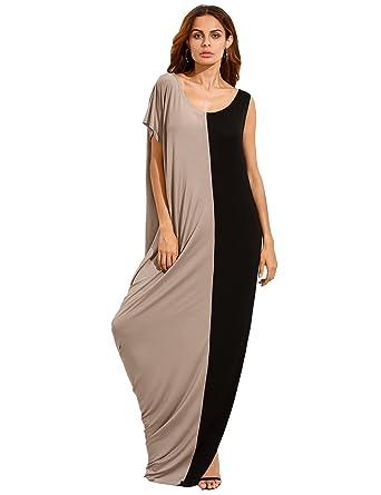 63e7ea4e9f18 Milumia Women s Summer Boho Color Block Pockets Caftan Maxi Dresses  (X-Small