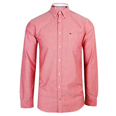 b853d74a4 Tommy Hilfiger Shirt Mens RED Long Sleeve Oxford  Amazon.co.uk  Clothing