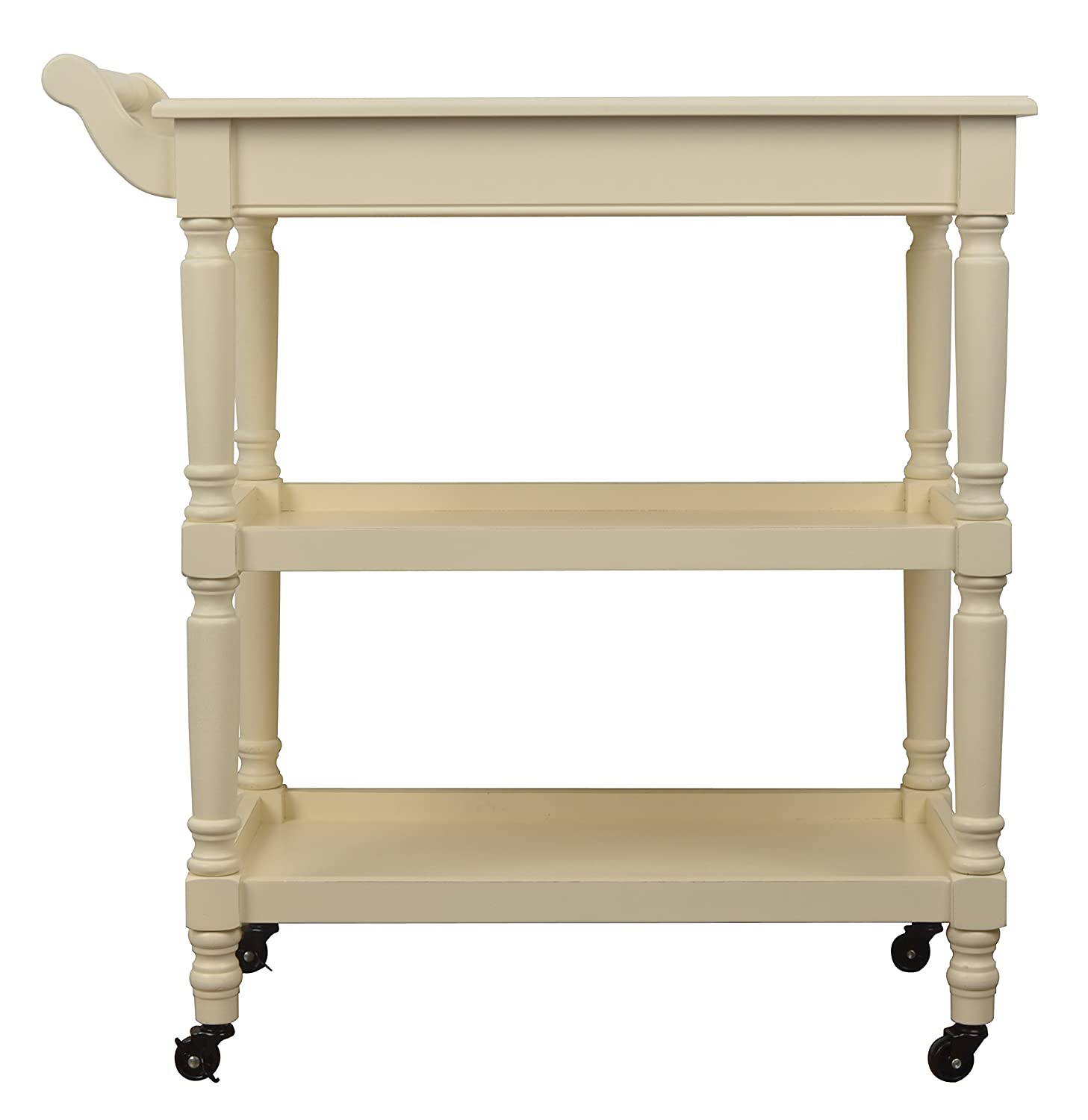 Décor Therapy FR6329 Rolling bar Cart with Open Storage, White