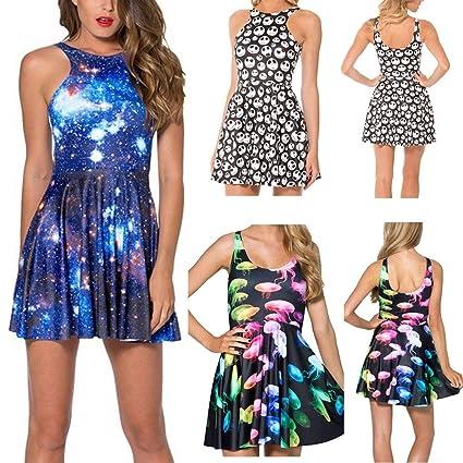a7e434e2041b6 Amazon.com: ZX Sexy Women Galaxy Dress Adventure Time Sleeveless ...