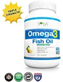 Omega 3 Fish Oil Supplements - with Lemon Oil, 120 Triple Strength Softgels (1300mg) 600mg DHA + 900mg EPA P/Serving, Molecularly Distilled, Heavy Metals and Toxins Free - NO Fishy Burps / Aftertaste