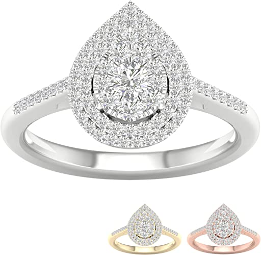 Half Cluster Band Shape Simulated Diamond Engagement Rings 14K White Gold Rings