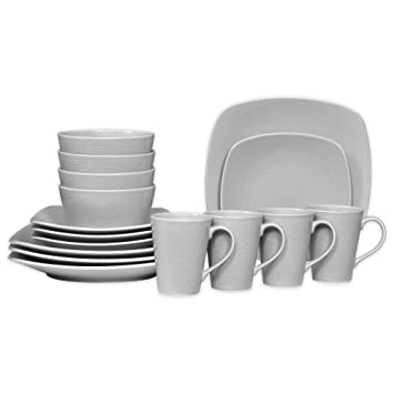 Noritake Grey on Grey Swirl 16-Piece Porcelain Square Dinnerware Set  sc 1 st  Amazon.com & Amazon.com | Noritake Grey on Grey Swirl 16-Piece Porcelain Square ...