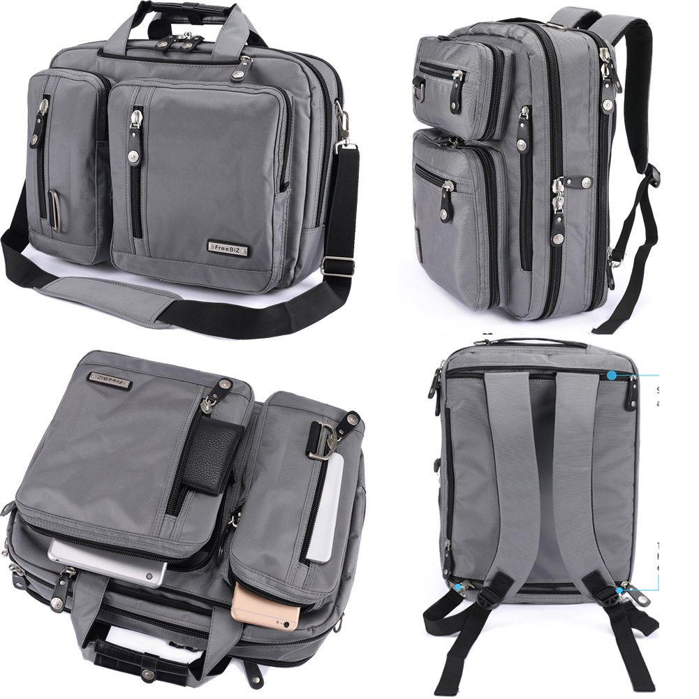 FreeBiz Laptop Bag Convertible Backpack Business Briefcase Messenger Bag Water Resistant Travel Rucksack for 17.3 Inch Laptop for Men Women Students(Gray)