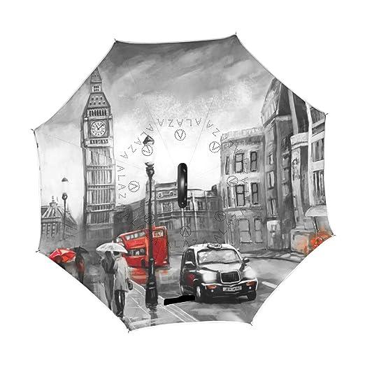 ALAZA Doble Capa invertido Paraguas Coches inversa Paraguas Big Ben de Londres Pintura al Óleo Prueba a Prueba de Viento UV Viaje Paraguas al Aire Libre: ...