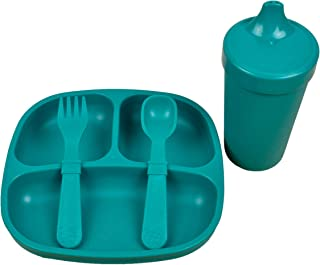 product image for Re-Play 4 Piece Dinnerware Set Made in USA Divided Plate, No Spill Cup & Utensil Set (Teal)