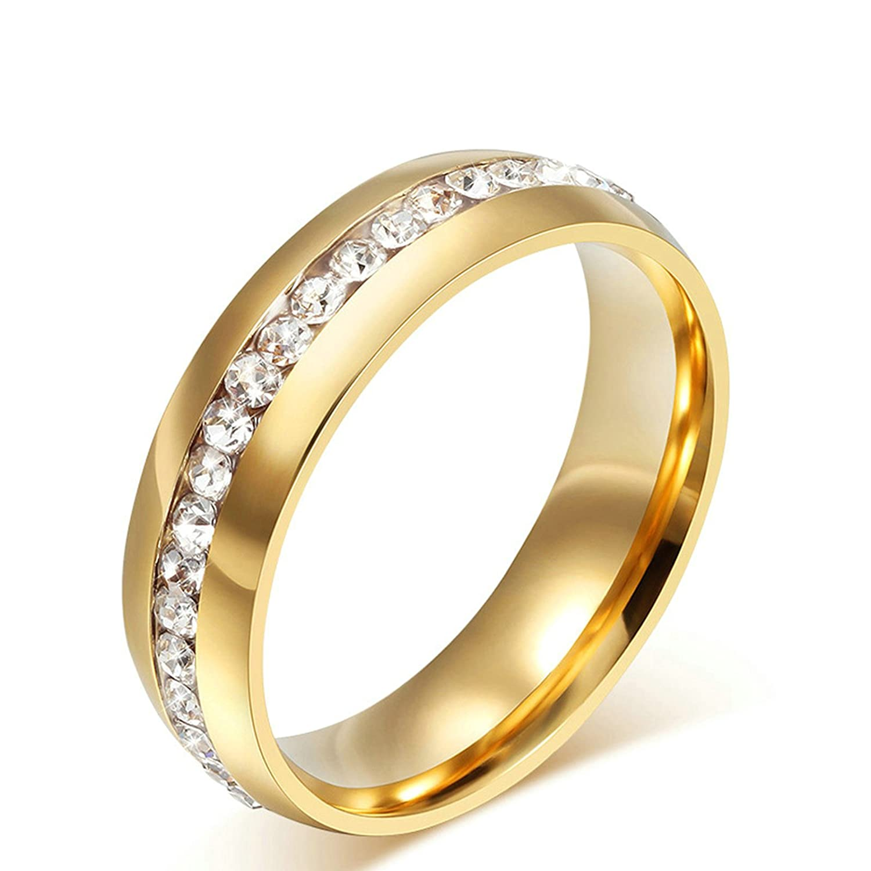 Onefeart Women Titanium Steel Ring Mens Wedding Band,White Cubic Zirconia Crystal Size L 1//2-Z 1//2 Boy