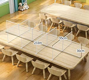 Resin Desk Screens Sneeze Guard Transparent Portable Partition Room Divider Food Divider Loop for Office School Restaurant-225 × 90 × 35cm