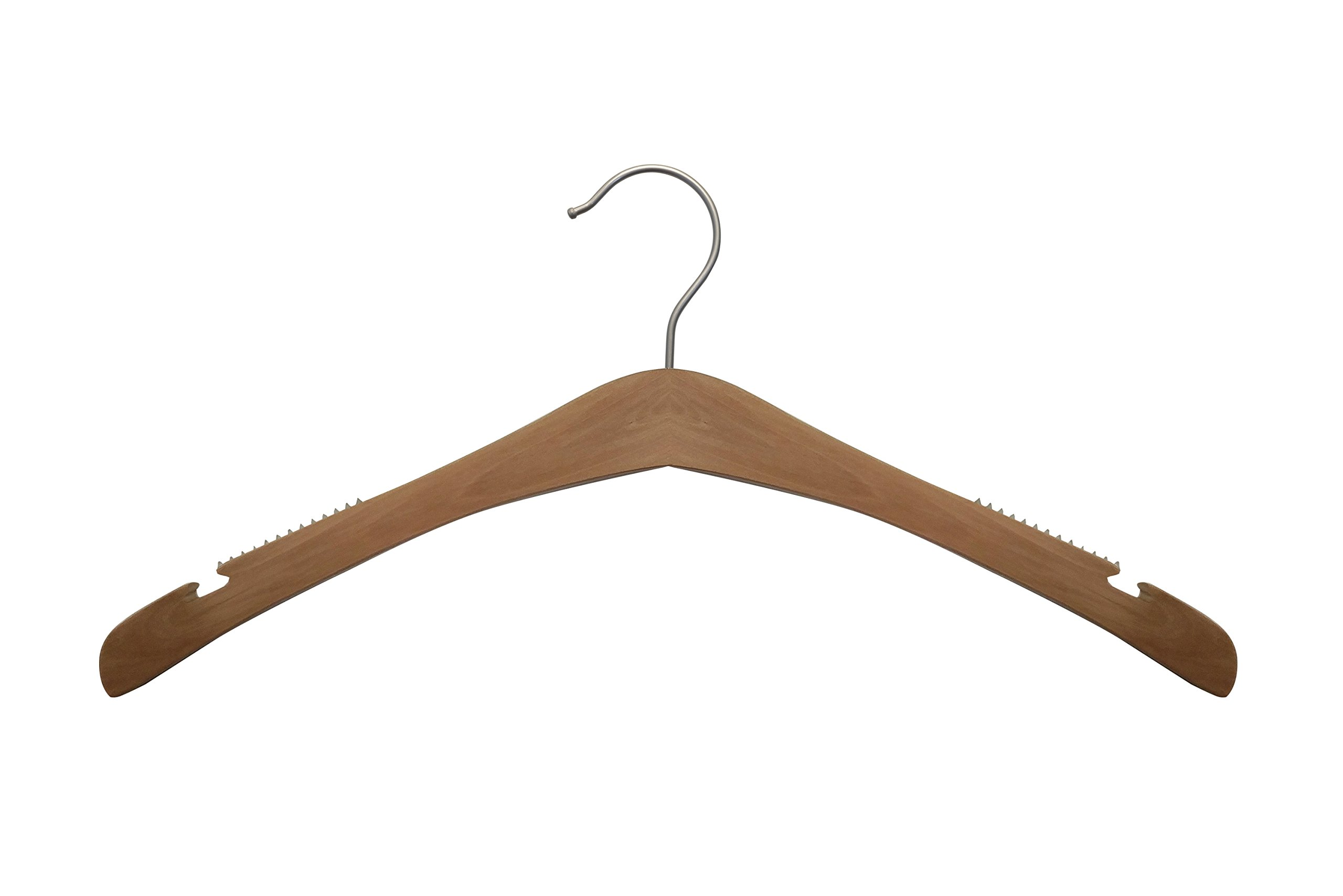 NAHANCO 30017   Signature Wood Hangers, Low Gloss Natural, 16 3/4''  (Pack of 100)