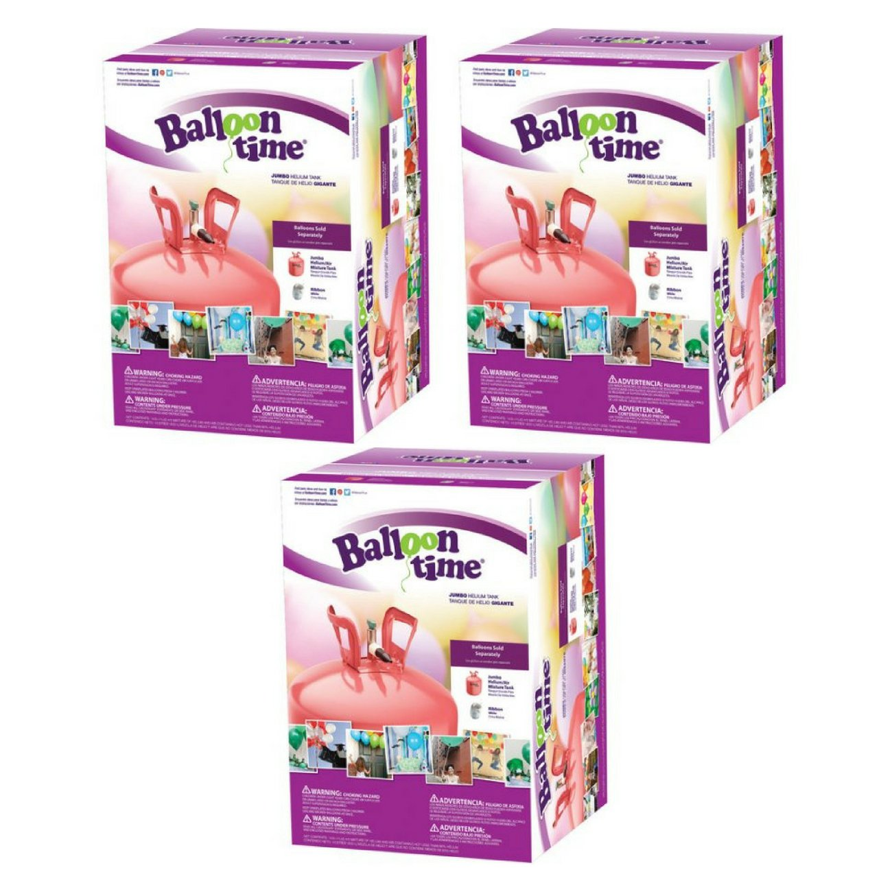 Balloon Time Jumbo 12'' Helium Tank Blend Kit (3 Boxes)