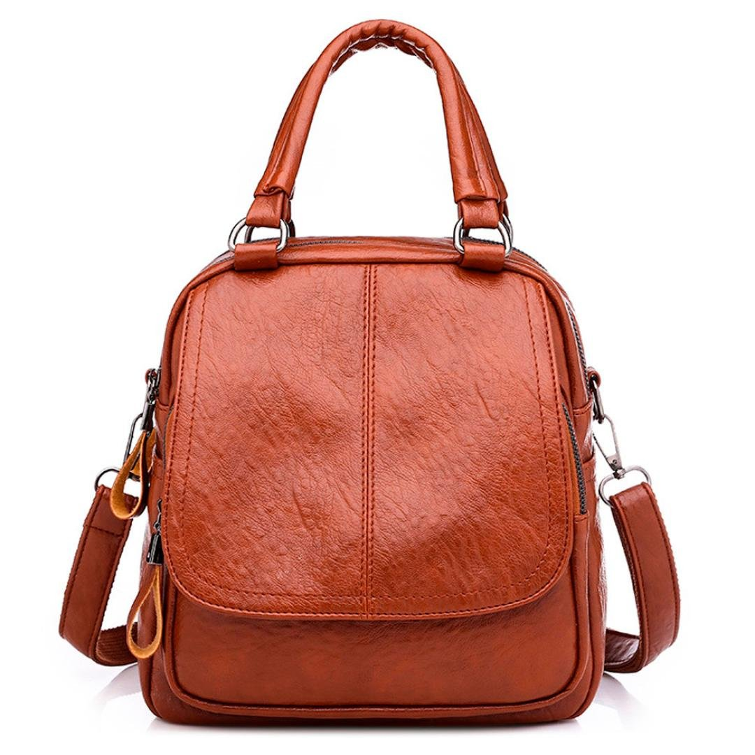 Aobiny Backpack Vintage Girl Leather Student Backpack (Brown)
