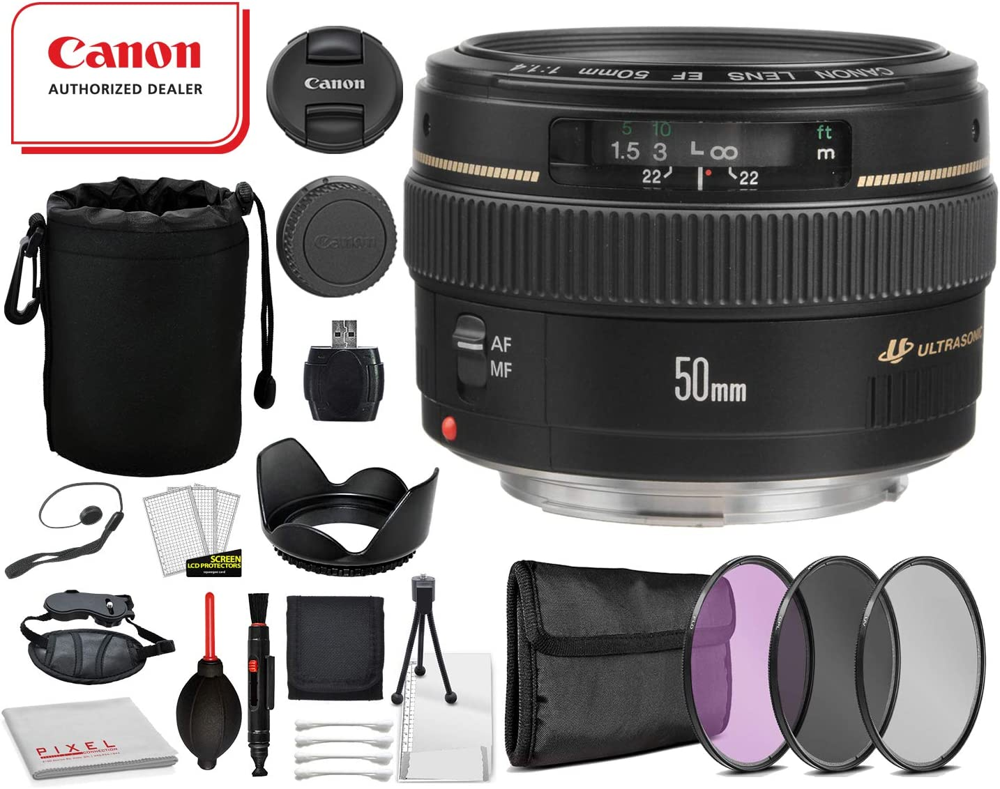 3PC Filter Kit 2515A003 More Canon EF 50mm f//1.4 USM Lens with Professional Bundle Package Deal Kit for Canon EOS Includes: Tulip Lens Hood Lens Pouch