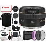 Canon EF 50mm f/1.4 USM Lens (2515A003) with Professional Bundle Package Kit for Canon EOS Includes: Tulip Lens Hood, 3PC Filter Kit, Lens Pouch + More
