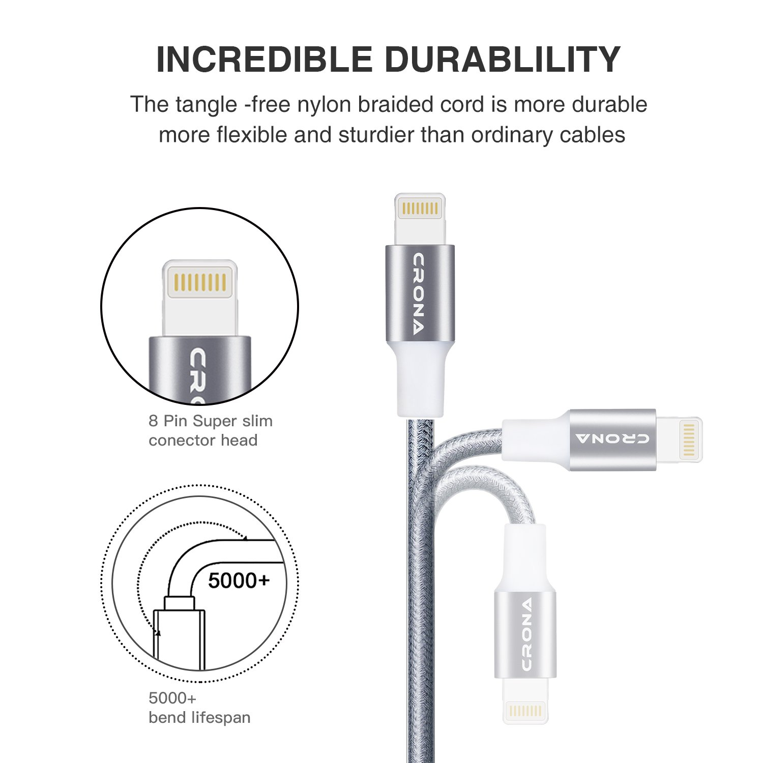 Amazon.com: Lightning Cable, CRONA 4Pack 6FT 3FTx2 1FT Nylon ...
