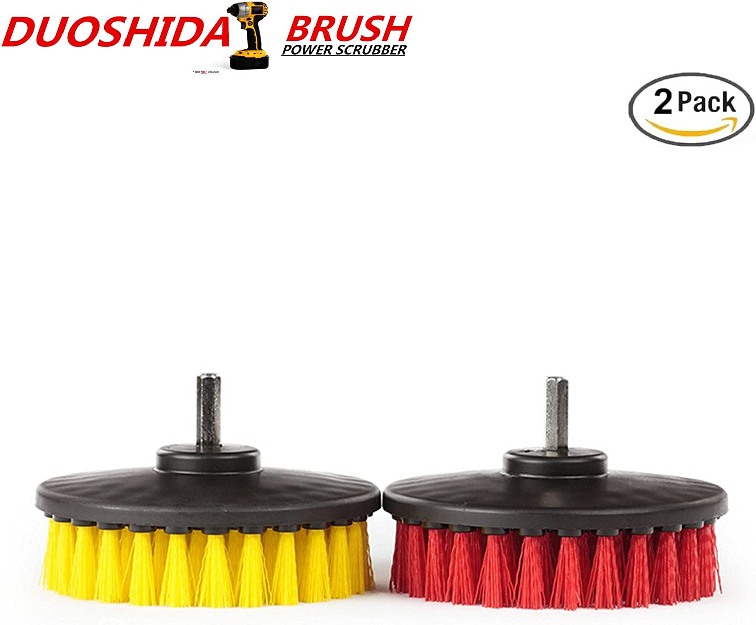 5-inch Round Full Bristle Drill Brush Attachment For Upholstery Car Carpet