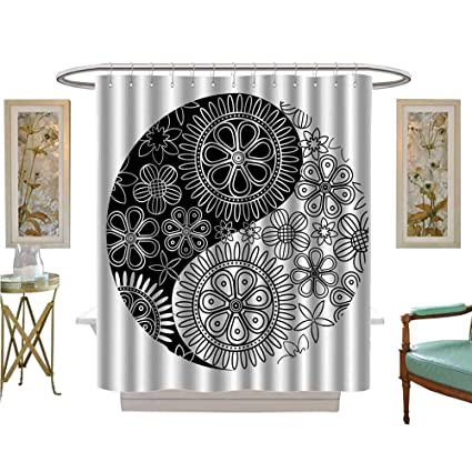 Shower Curtains Waterproof Flower And Petals Yoga Themed Asianatis Asian Cultural Floral Fabric Bathroom Decor Set