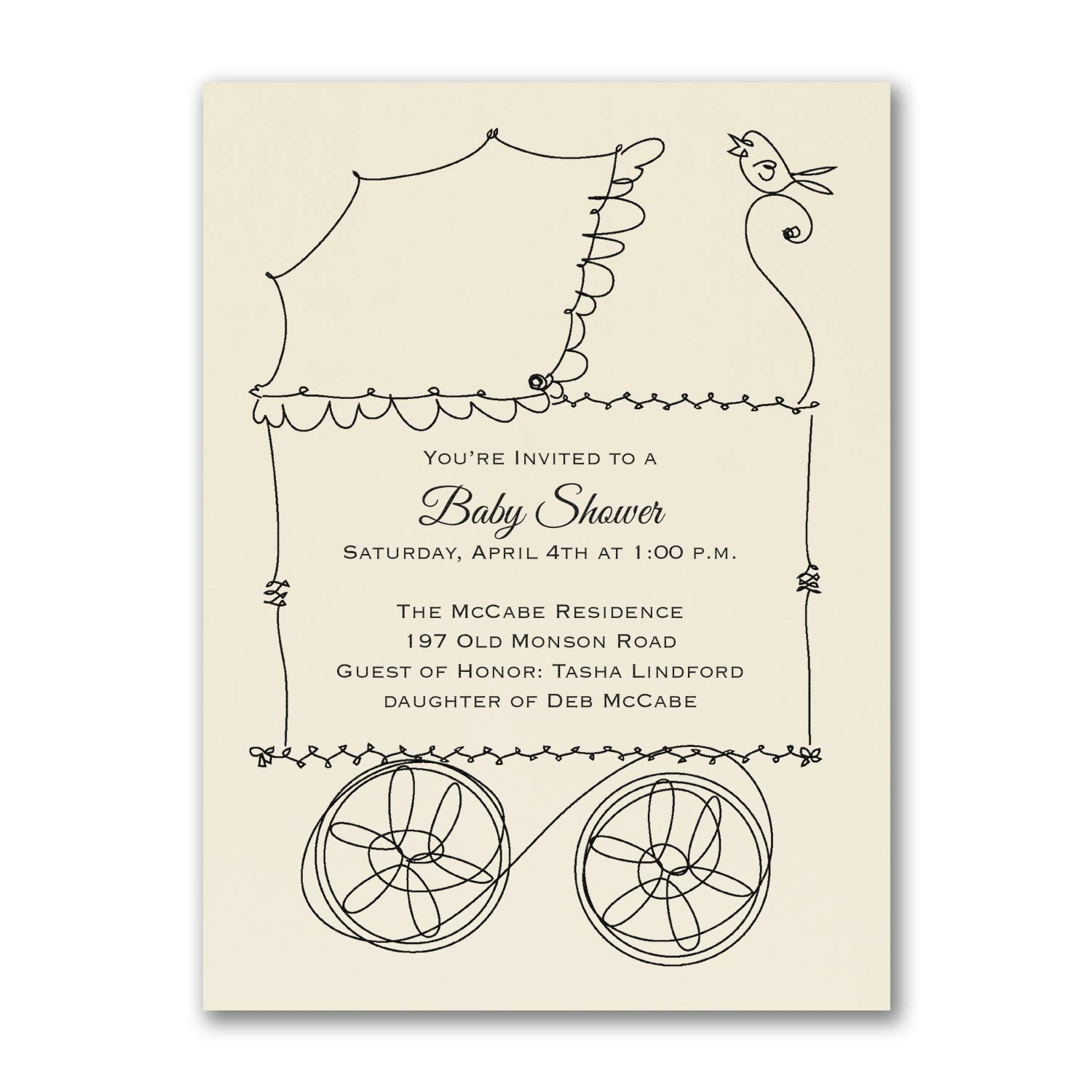 550pk Buggy - Baby Shower Invitation - Ecru-Baby Shower Invitations