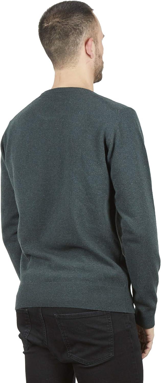 BRUNELLA GORI Pull Pullover Homme Ras du Cou en superfiin Australien Laine dagneau Color Vert Melange