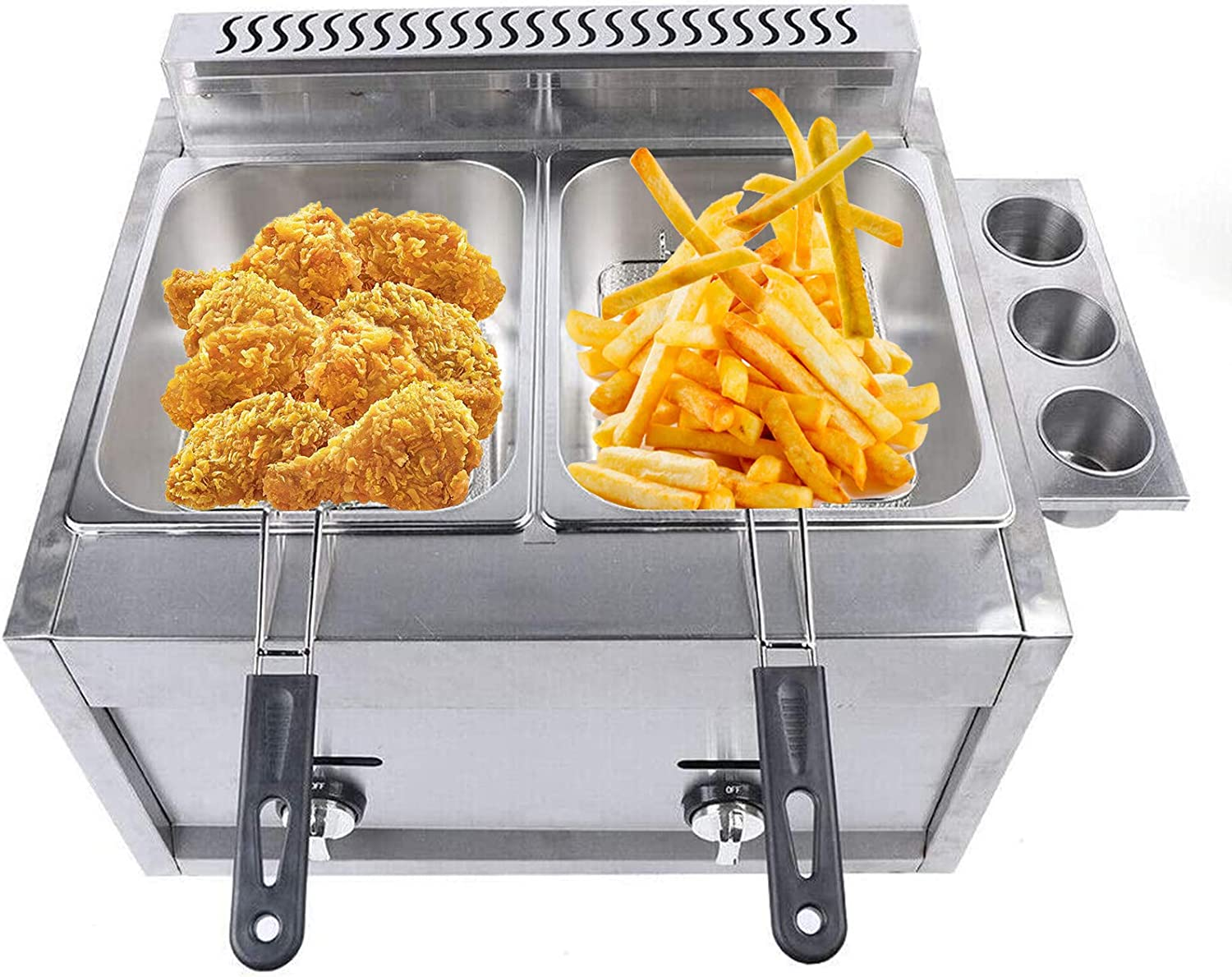 Professional Deep Fryer,Dual Tank Stainless Steel Chicken Chips Fryer with Basket Scoop for Commercial Restaurant Countertop Family Food Cooking 6L 570x450x420mm